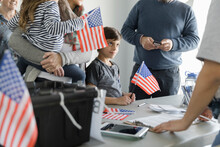 Boy With American Flag With Pa...