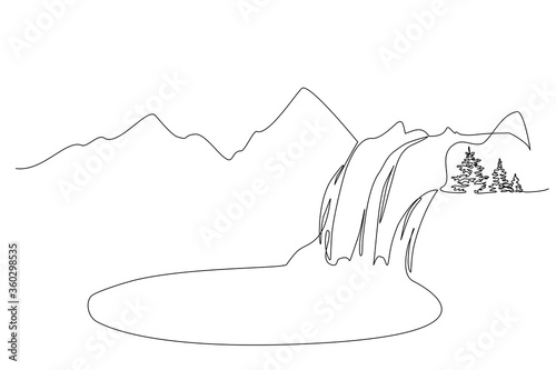 Obraz Landscape with mountains, waterfall and lake. One line - fototapety do salonu