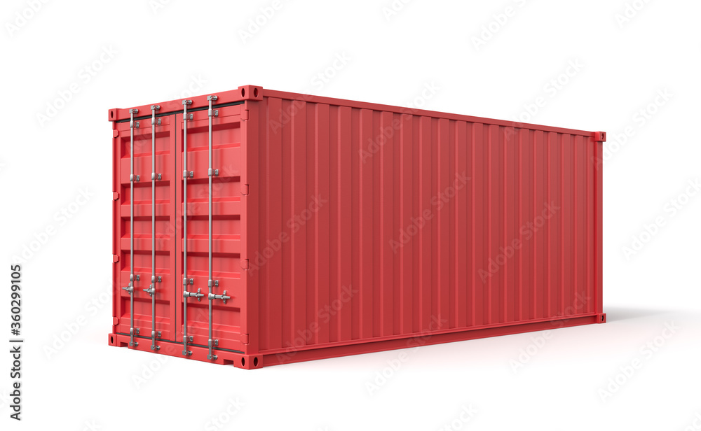 Fototapeta 3d rendering of closed red cargo container isolated on white background.
