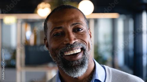 African American man looking at camera