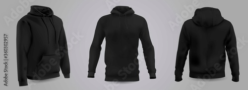 Black men's hooded sweatshirt mockup in front, back and side view, isolated on a gray background Canvas