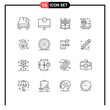 User Interface Pack of 16 Basic Outlines of seasoning, coffee, hardware, cinnamon, product
