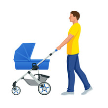 Baby Carriage Isolated On A White Background. Kids Transport. Strollers For Baby Boys Or Baby Girls. Man With Baby Stroller Walks. Theme Of Motherhood And Fatherhood