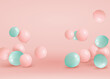 Set of pink, green balloons flying on the floor. Celebrate a birthday, Poster, banner happy anniversary. Realistic decorative design elements. Festive pastel pink background with helium balloons.