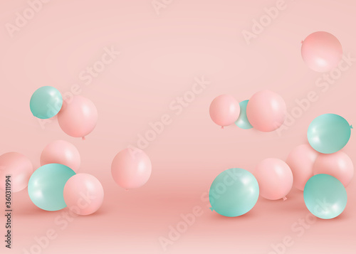 Fototapeta Set of pink, green balloons flying on the floor. Celebrate a birthday, Poster, banner happy anniversary. Realistic decorative design elements. Festive pastel pink background with helium balloons. obraz