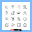 Pack of 16 Modern Outlines Signs and Symbols for Web Print Media such as cable, options, gear, control, human