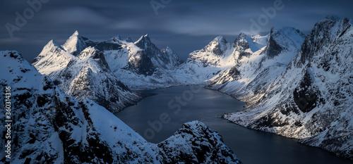 Kjerkfjorden sunset panorama Billede på lærred