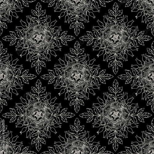 Seamless geometrical monochrome pattern with square floral motifs. Black and white silhouetted rhombuses with wild rose plant. Hand drawn sketches.