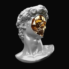 Abstract Digital Illustration From 3D Rendering Of Michelangelo's David Classical Porcelain Head Bust With Face Off Showing A Shiny Golden Skull Inside.