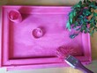 Leinwandbild Motiv Pink wooden picture frame old used paint brush and jar