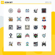 Modern Set of 25 Filled line Flat Colors and symbols such as web page, web, day, gift, ring
