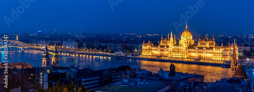 A panoramic night pic of Budapest Hungary with the government building glitterin Canvas