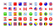 Set Of Flags In Circle And Round