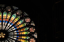 Colorful Rose Window Inside The Strasbourg Cathedral.