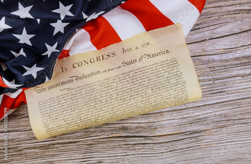 American Flag of the United States Declaration of Independence with 4th july 1776