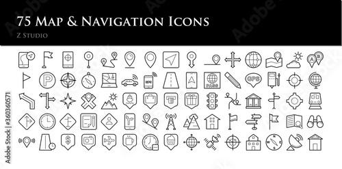 75 Map & Navigation Icons Canvas Print