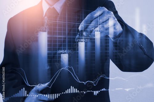 Stock market or forex trading graph and candlestick chart suitable for financial investment concept Fototapete