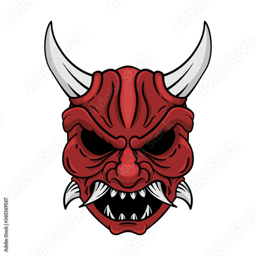Vector red kabuki mask Japanese style template tattoo design. Wallpaper Mural