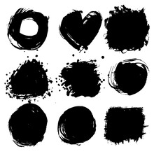 Black Ink Round Shapes, Square...