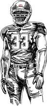 American Football Player. Vector Monochrome Illustration Of American Football Player In Sketch Style.