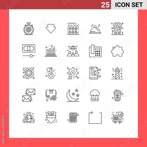 25 Thematic Vector Lines and Editable Symbols of ghost, coffin, home, servise, d Wallpaper Mural