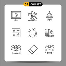 Pictogram Set Of 9 Simple Outlines Of Diet, Math, Space Ship, Calculator, Alien