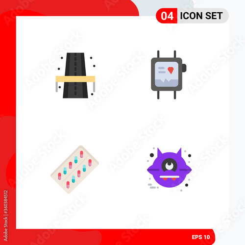 4 Universal Flat Icons Set for Web and Mobile Applications city, pill, way, moni Canvas Print