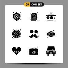 Set Of 9 Modern UI Icons Symbo...