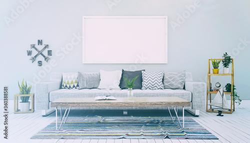 Foto 3d Illustation - Skandinavisches, nordisches Wohnzimmer mit einem Sofa, Tisch un