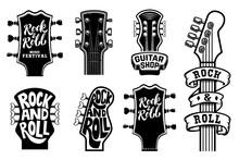 Set Of Rock And Roll Guitars Necks Heads With Lettering. Design Element For Logo, Emblem, Card,banner, T-shirt. Vector Illustration