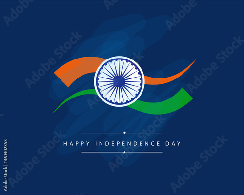Cuadros en Lienzo India Independence Day celebration background with Ashoka Wheel and National Flag -15th Auguest