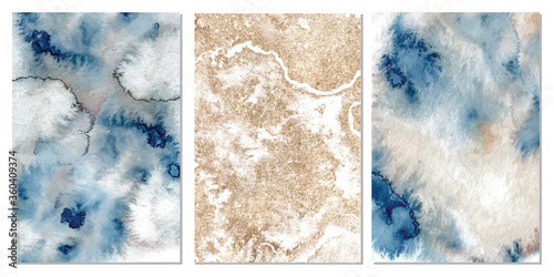 Watercolor abstract classic blue, pink and gold, background, hand drawn watercolour texture Vector illustration