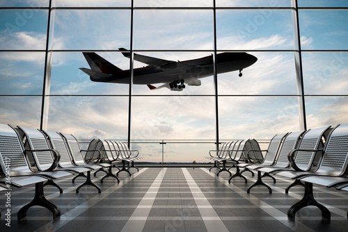 Empty airport terminal lounge with airplane on background. Wallpaper Mural