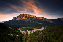 Sunrise The Bow River And Moun...