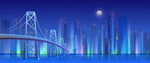 City Bridge At Night Vector Il...