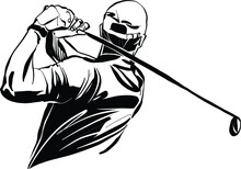The Vector Illustration Of The Golf Player With A Niblick