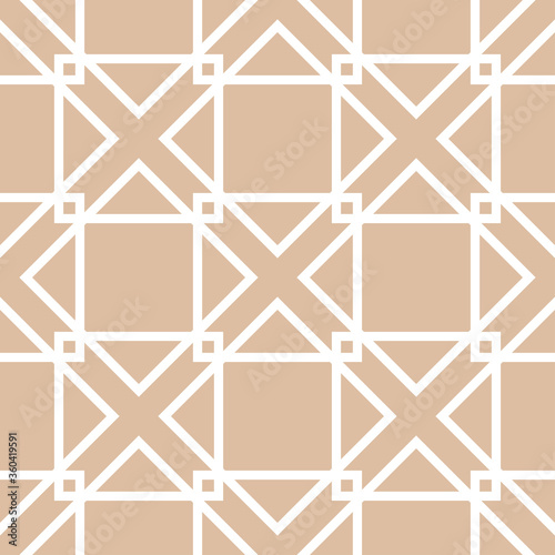 Tapeta beżowa  geometric-square-seamless-pattern-white-design-on-beige-background