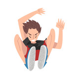 Teenage Boy Jumping, Parkour, Extreme Hobby or Street Sport Cartoon Style Vector Illustration