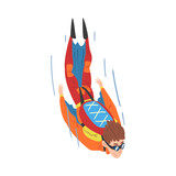 Male Skydiver in Wingsuit Falling Down, Skydiving and Parachuting Extreme Hobby or Sport Cartoon Style Vector Illustration
