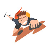 Man Climbing on Rock Mountain, Extreme Hobby or Sport Cartoon Style Vector Illustration