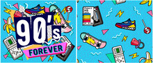 Set Of Vector Banners In Trendy 80s-90s Memphis Style. With Old-fashioned Retro Stuff With A Game, Vhs Cassette, Skate, Stick Candy, Sneakers And An Old Audio Cassette. Can Be Used In Cover Design, Bo