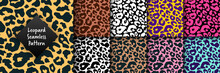 Trendy Leopard Seamless Pattern Set. Hand Drawn Wild Animal Cheetah Skin Abstract Texture For Fashion Print Design, Fabric, Textile, Cover, Wrapping Paper, Background, Wallpaper. Vector Illustration