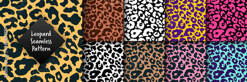 Fototapeta Trendy leopard seamless pattern set. Hand drawn wild animal cheetah skin abstract texture for fashion print design, fabric, textile, cover, wrapping paper, background, wallpaper. Vector illustration obraz