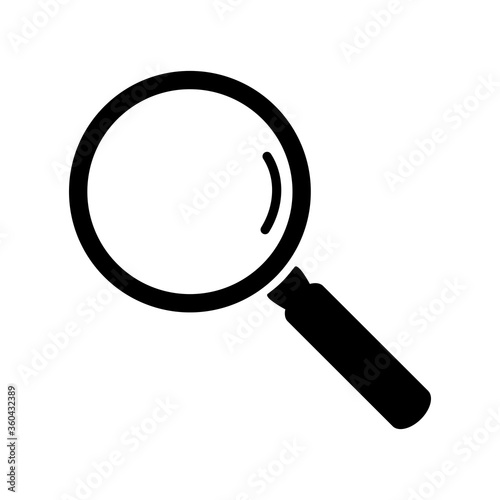 Black magnifying glass icon isolated on white background Wallpaper Mural