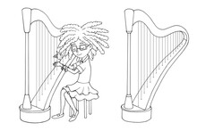 Cute Cartoon Girl Playing The Harp. Young Harper. Music Lesson. White And Black Vector Illustration For Coloring Book. Isolated Objects On White Background.