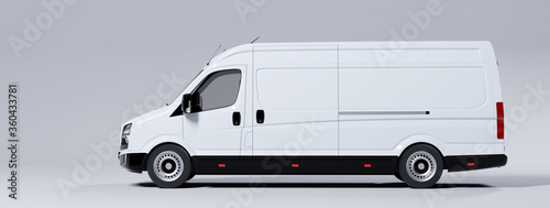 Foto Commercial van truck on white background. Transport and shipping