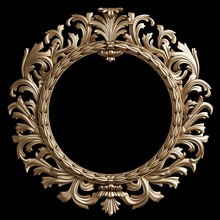 Classic Golden Round Frame Wit...