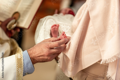 Baptism ceremony in Church Canvas Print