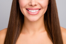 Closeup Cropped Photo Of Attractive Lady Nude Shoulders Plump Perfect Shape Lips Demonstrating Ideal Veneers Toothy Smile Dentistry Advert Concept Isolated Grey Color Background
