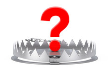 Metal Bear Trap With Red Question Mark. 3d Rendering